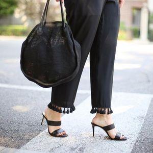 Club Monaco Black Silk Tassel Trim Trouser Pants 8